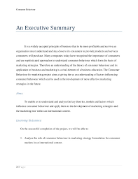 behaviour report template consumer behavior project