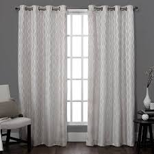 Grey And White Curtain Panels Exclusive Home Baroque Textured Linen Look Jacquard Grommet Top