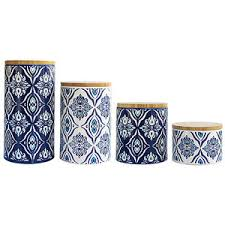 blue kitchen canisters 4 pc pirouette blue white canister set kitchen canisters can
