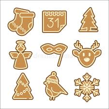 christmas cookie vector icons set stock vector image 52420169