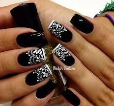 Nail Art Lace Design 80 Black And White Nail Designs Black Nails White Lace And Black