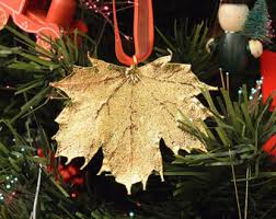 gold plated christmas ornaments leaf ornament etsy