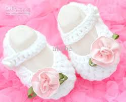 Flower Girls Dress Shoes - 2017 baby crochet shoes flower white dress mary jane shoes