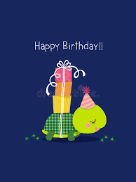happy birthday card with cute turtle stock vector image 59035489
