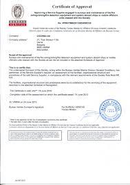 bureau veritas testing approvals certificates ciconia ltd