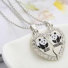 aliexpress heart necklace images Bespmosp 2pcs heart panda best friends bff silver plated animal jpg