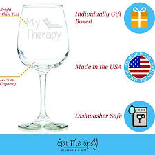 Unique Holiday Gift Idea Glass My Therapy Funny Wine Glass 13 Oz U2013 Best Christmas Gifts For Women