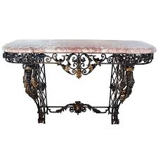 Iron Console Table French Wrought Iron And Marble Top Console Table For Sale At 1stdibs