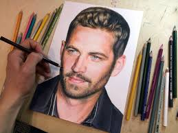 colored pencil drawing of paul walker time lapse video youtube