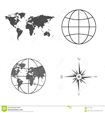Global Wind Map Vector Illustration Of World Map Globe Wind Rose Compass Stock