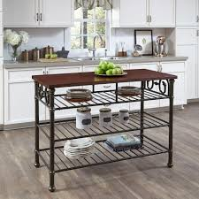 kitchen island with wood top home styles richmond hill black kitchen utility table with wood