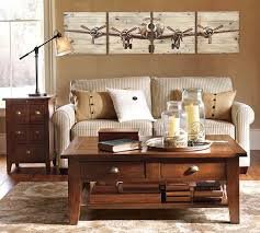 planked airplane panels pottery barn family room