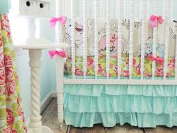 Pink And Teal Crib Bedding by Amazon Com Tushies And Tantrums Boutique Birds With Floral Sheet