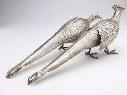 lot 1043 a pair of continental sterling silver pheasant form
