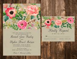 wedding invitations floral printable watercolor floral wedding invitation set printable