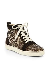 christian louboutin crystal leopard pattern suede high top