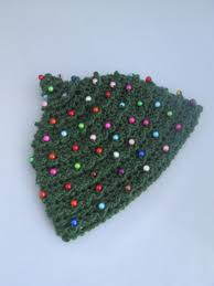 baby beaded christmas tree handmade crocheted beanie hat winter