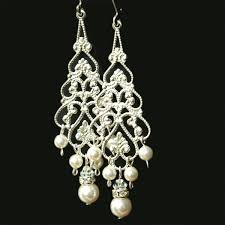 and pearl chandelier earrings pearl chandelier bridal earrings silver filigree dangly