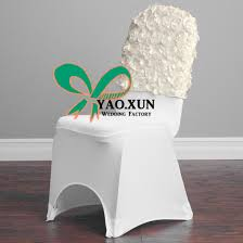 rosette chair covers satin rosette chair cap used for banquet spandex chair cover