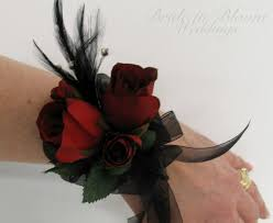 and black corsage black feather wrist corsage black pearl bracelet