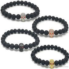 energy bead bracelet images 8mm men and women bracelet red eyes diamond skull black lava rock jpg