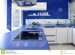 Interior Design House Blue White Kitchen Modern Interior Design House Stock Image