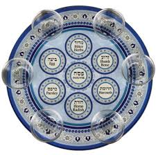 buy seder plate buy blue decorations glass seder plate with saucers israel catalog