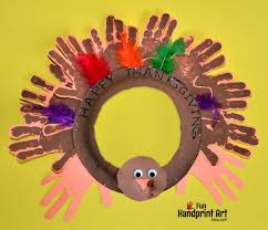 handprint turkey thanksgiving wreath craft handprint