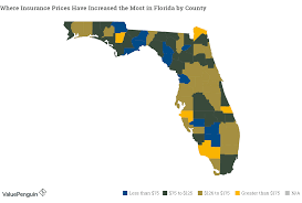 map shows how insurance rates have increased by county in florida
