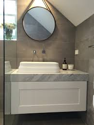 Shaker Style Vanity Bathroom by Ensuite Bathroom Grey And White Carrara Marble Vanity Omvivo