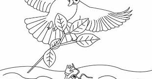 kids page the ant and the dove aesop fables coloring page