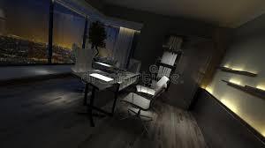 empty dark interior of a stylish home office stock illustration