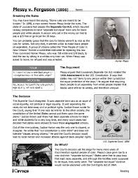 plessy v ferguson 1896 6th 12th grade worksheet lesson planet