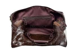 Cowhide Overnight Bag Authentic Handcrafted Cowhide Leather Overnight Duffle Bag