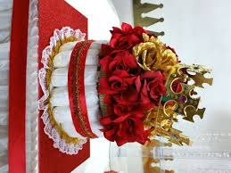 red u0026 gold diaper cake centerpiece with crown for prince baby