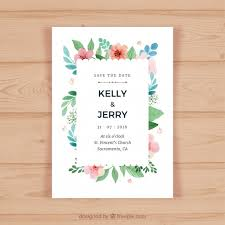 wedding invitation card with colored flowers vector free