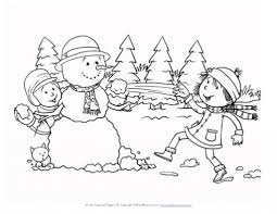 winter coloring pages snowman free the christmas season during