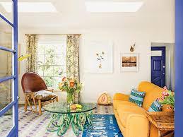 home blue annabel mehran colorful patterns bright la home tour