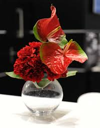 27vr red carnation red anthurium in small gfb flowers