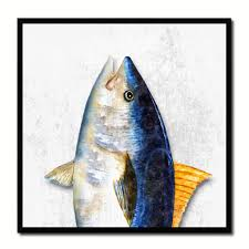 blackfin tuna fish head art white home decor wall art nautical