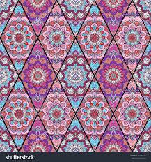 rhombus boho flower tile pattern seamless stock vector 470080946