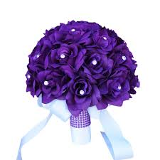 artificial roses 10 bouquet purple roses rhinestone artificial flowers purple