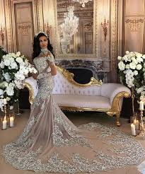 luxury mermaid wedding dresses sleeve silver high neck popular evening dress lace mermaid