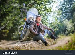 cruiser biker boots bearded man posing his shiny stylish stock photo 379136032