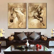 Wall Paintings For Living Room Aliexpress Com Buy 2 Pcs Set Modern European Oil Painting Horse