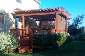 outstanding deck with pergola home exterior design image of