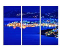 wandbilder 3 teilig landschaftsfotografie u2013 agios nikolaos bei nacht kreta