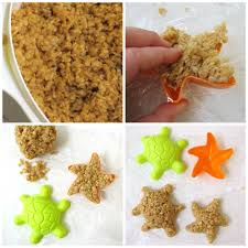 rice krispie treats for thanksgiving caramel rice krispie treat starfish and turtles tutorial