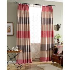 Maroon Curtains Colorful Print Horizontal Striped Burlap Long Pinch Pleated Curtains