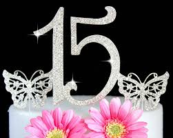 15 cake topper sweet 15 quinceanera numbers silver bling cake topper